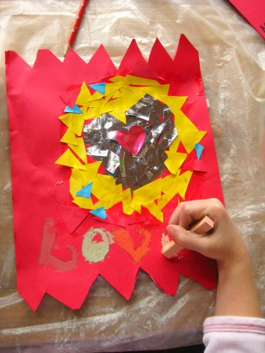 carte, st valentin, collage, enfants, bricolage